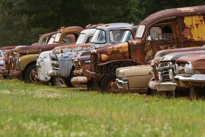 Discarded Vehicles Are Lined Up In Georgia Junkyard Field