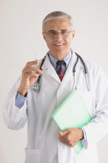 Doctor in Labcoat with Syringe
