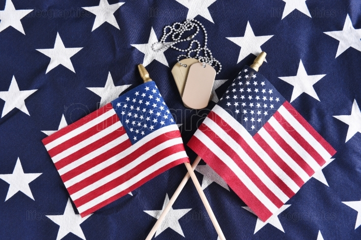 Dog Tags and Crossed Flags