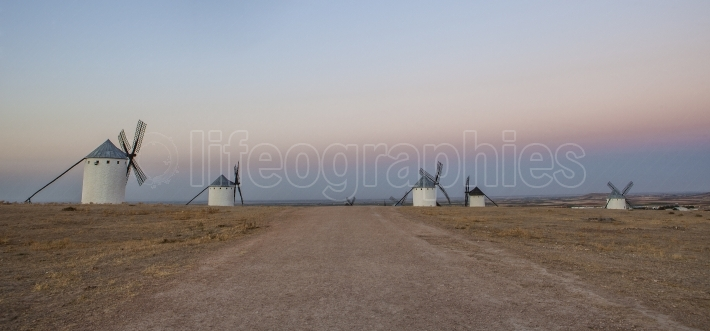 Don Quixote windmills at rising, Campo de Criptana, Spain  Panor