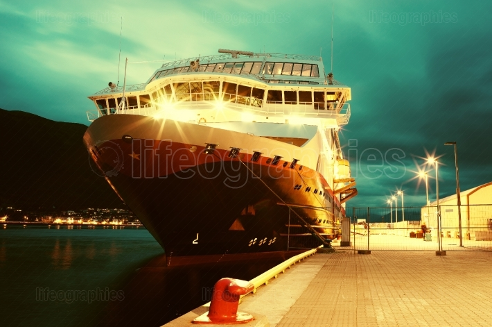 Dramatic Norway ship postcard background