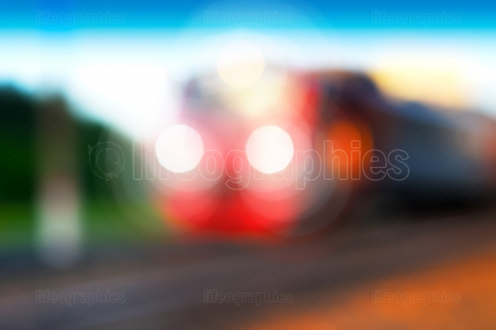 Dramatic transport train bokeh background