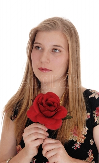 Dreaming woman holding red rose