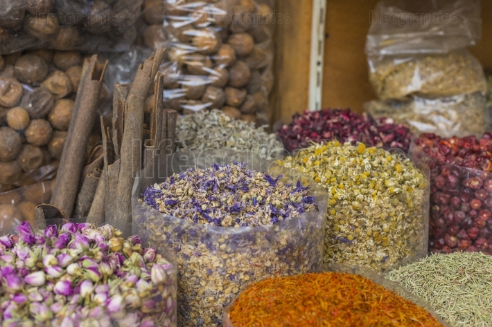 Dried herbs, flowers and arabic spices in the souk at Deira in D