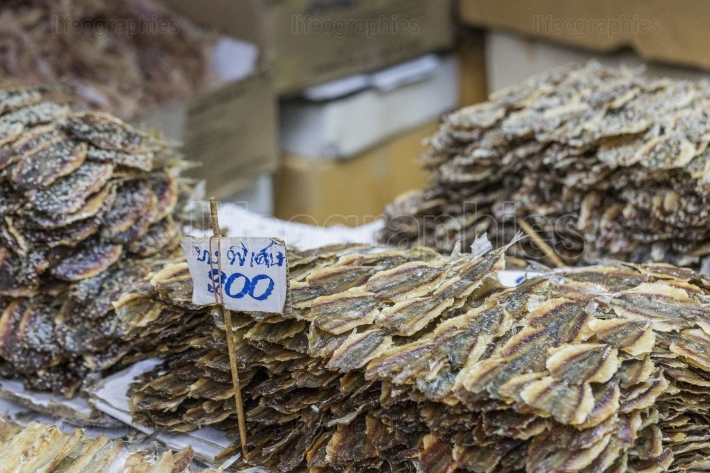 Dried seafood on sale in a thai street market in Bangkok, Thaila