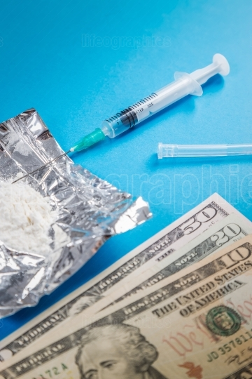 Drug syringe, narcotic dangerous,drug abuse,pay money for drugs