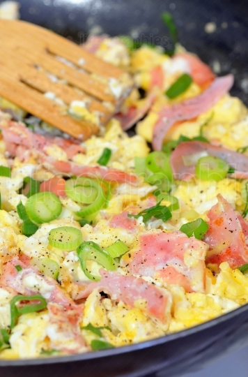 Eggs omelet with ham