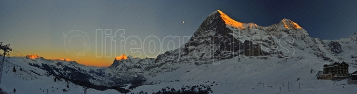 Eiger, monch & jungfrau mountain by night