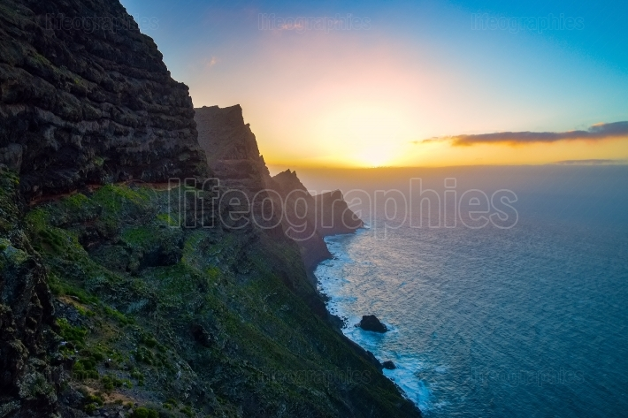El Mirador del Balcon. Beautiful sunset on the rocky atlantic coast in the west part of Gran Canaria island