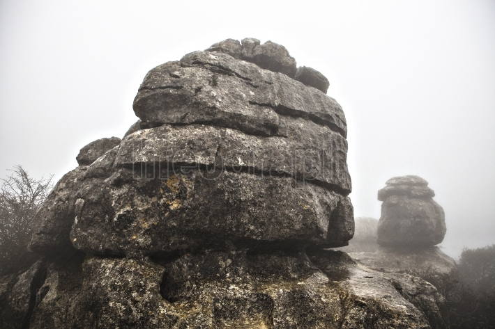 El Torcal De Antequera in the fog, Malaga, Spain