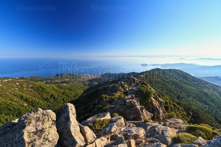Elba island from Mt Calanche