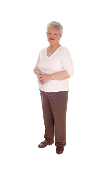 Elderly woman standing for white background.