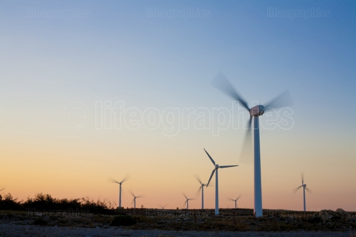 Electric wind turbines farm with sunset light on arid landscape
