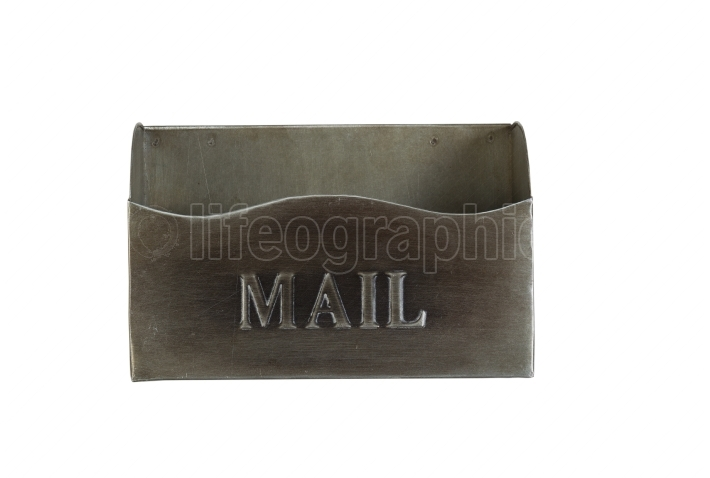 Empty Old Metal Mailbox isolated on white