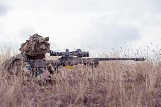 English soldier with Barrett 98 Barrett 98