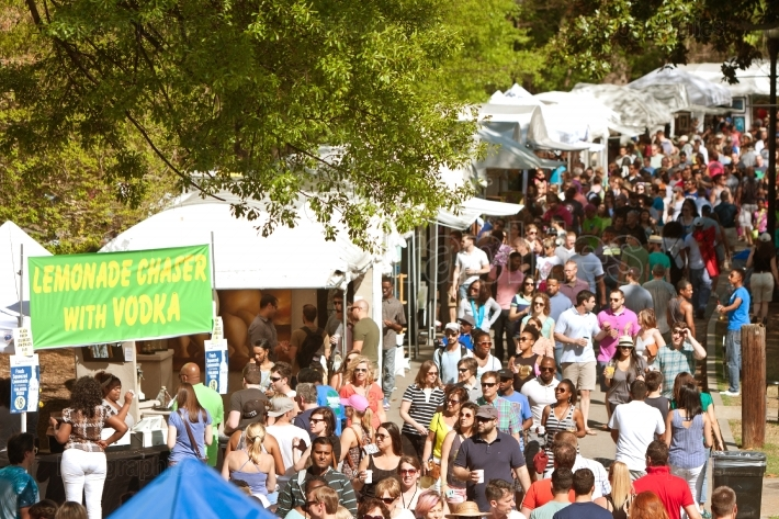 Enormous crowd moves through exhibit tents at atlanta dogwood fe