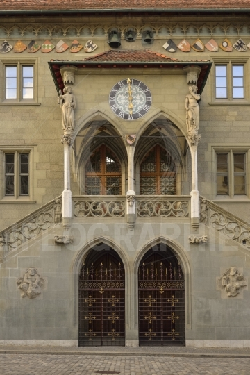 Entrance of the old city hall in bern (rathaus). switzerland.