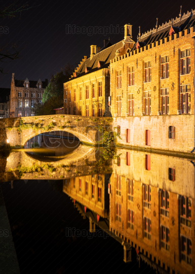 Evening in the historic city of Bruges, Belgium