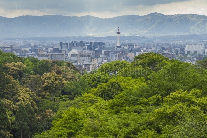Evening view of Kyoto city in Japan.