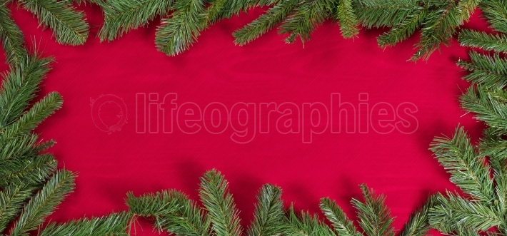 Evergreen branches forming border on red cloth