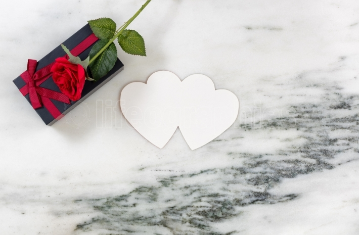 Expressing love with gifts for the holiday on marble stone backg