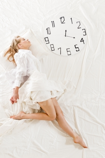 Expressive woman sleeping, dreaming concept