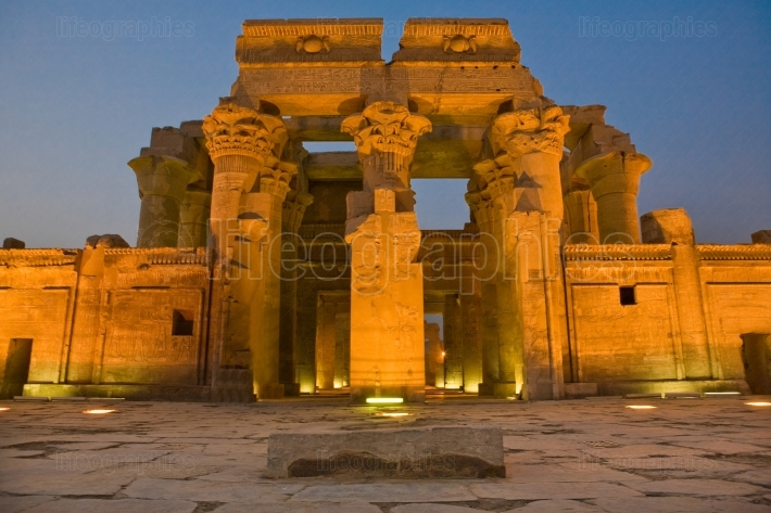 Facade of kom ombo temple by night