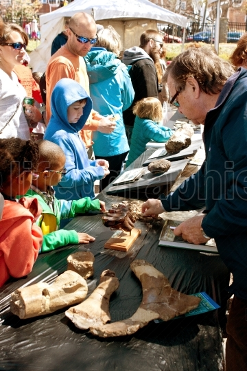Families Look At Fossils On Display At Atlanta Science Fair