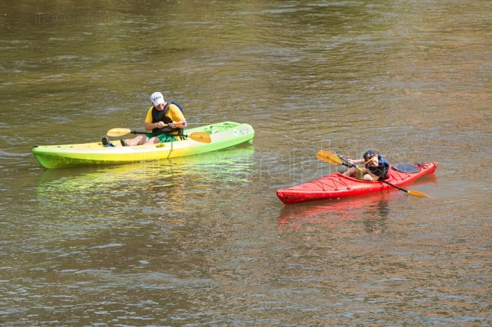 Father squirts son with water gun kayaking down atlanta river