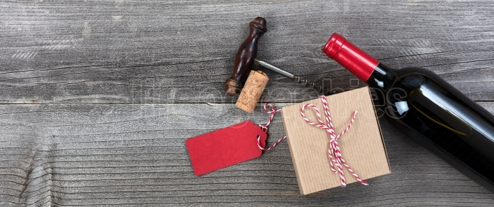 Fathers day gift box with a bottle of red wine and opener for th