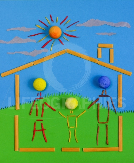 Figurative family on a house, on a sunny day