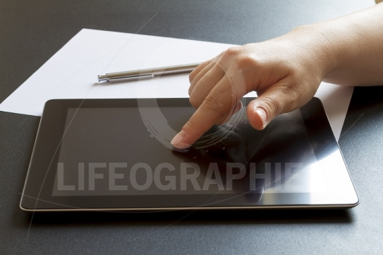 Finger pointing on digital tablet