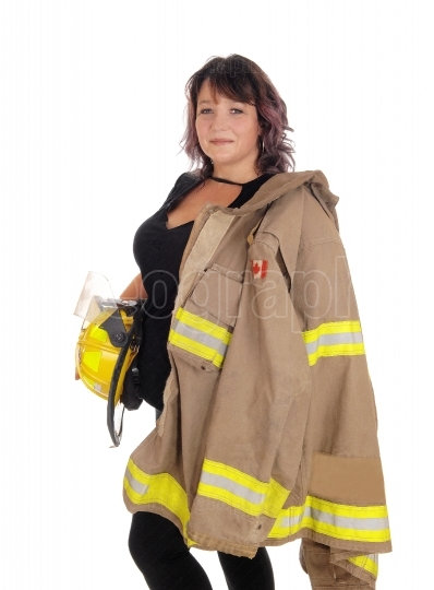 Fire fighting woman with jacket