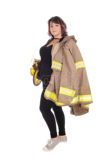 Fire fighting woman with jacket and helmet