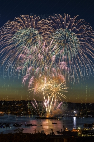 Fireworks on fourth of July in Seattle Washington