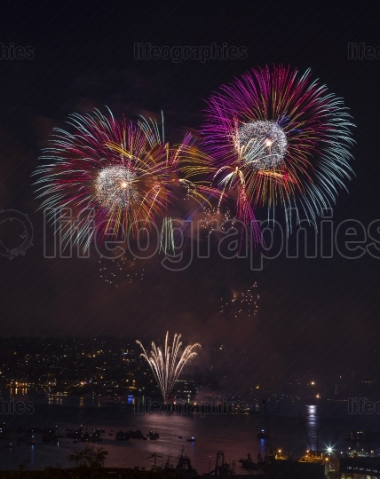Fireworks on the water in Seattle Washington