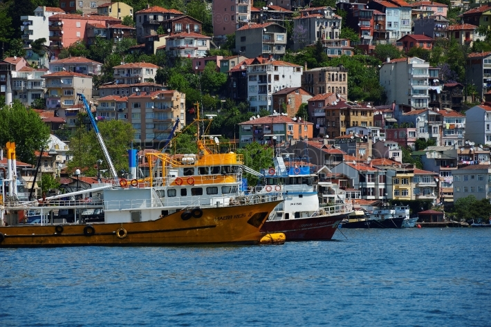 Fishing boats on the Bosphorus in Istanbul, Turkey