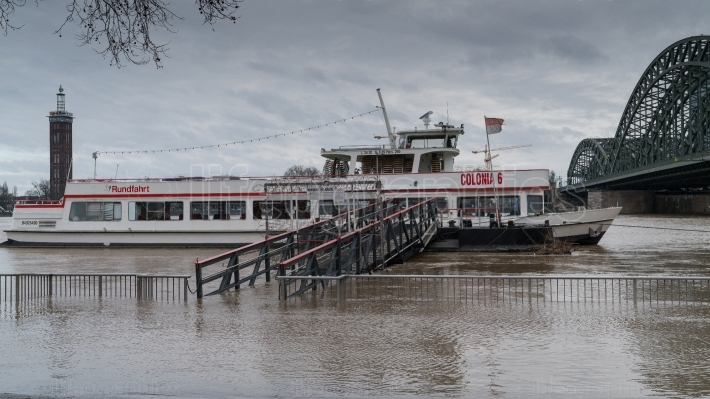 Flood on Rhine river, Cologne, Germany