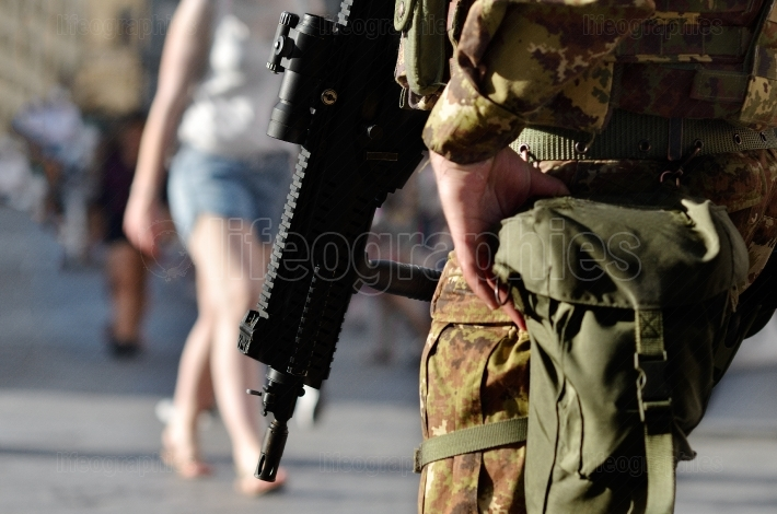 Florence - JULY 2: Armed military in the historic center in Flor