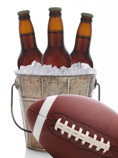 Football and Beer in Bucket