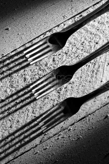 Forks on wood table