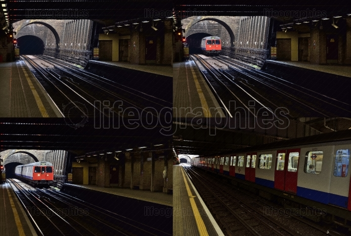 Four diferent pictures with  london tube train in vintage underground station