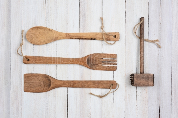 Four Wood Kitchens Utensils
