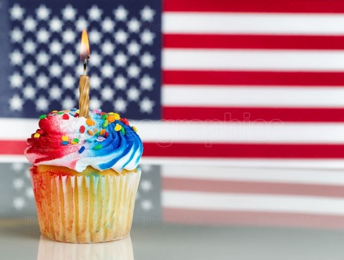 Fourth of July Cupcake with Light Candle