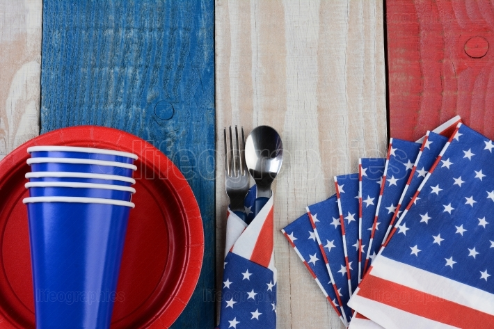 Fourth of July Picnic Table Setting