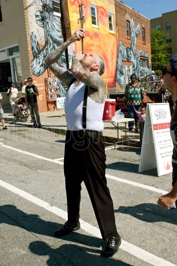 Freak Show Artist Swallows Two Swords In Atlanta Festival