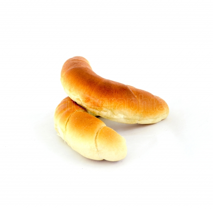 Fresh baked croissanton a white background