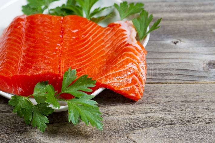 Fresh Fillet of Sockeye Salmon with parsley