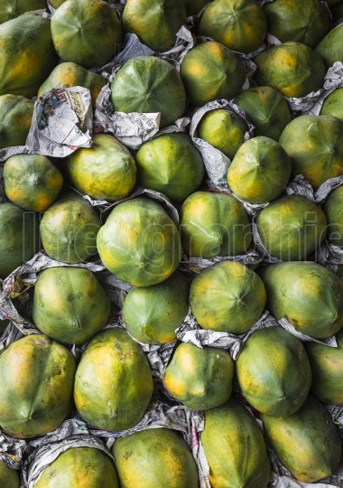 Fresh organic ripe papayas at a farmer's market in kandy, sri la