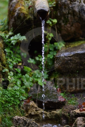 Fresh water pouring from wooden pipe, mountain spring